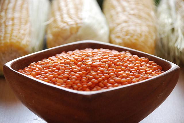 תבשיל תירס ועדשים אדומות